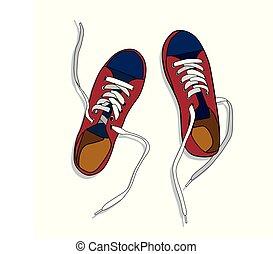 El concepto de fondo de zapatillas deportivas planas.