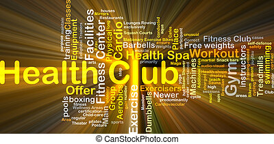 El concepto de fondo del club de salud brilla