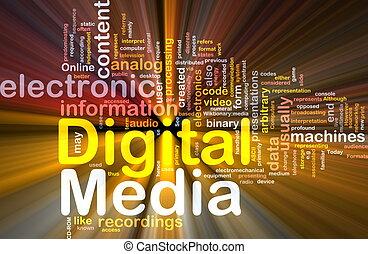 El concepto de fondo digital de los medios brilla