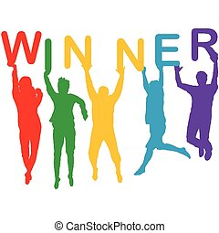 El concepto de ganador con la gente siluetas saltando