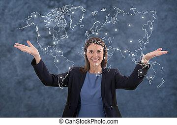 El concepto de globalización de mujeres de negocios.