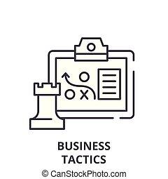 El concepto de icono de las tácticas comerciales. Tácticas de negocios vector de ilustración lineal, símbolo, signo