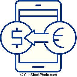 El concepto de icono en línea de intercambio. Simbolo de vector de intercambio en línea, signo, ilustración.