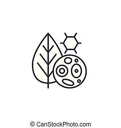 El concepto de icono lineal de las células de las plantas. Señal de vector de la línea de células de las plantas, símbolo, ilustración.