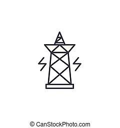 El concepto de icono lineal de pilón eléctrico. Señal de vector de línea de pilón eléctrico, símbolo, ilustración.