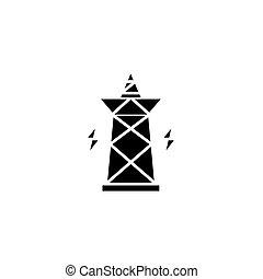 El concepto de icono negro de pilón eléctrico. El símbolo del vector plano de pilón eléctrico, signo, ilustración.