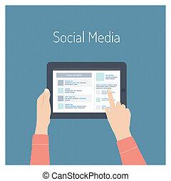 El concepto de ilustración plana de las redes sociales