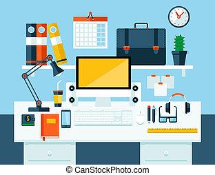 El concepto de ilustración plana del espacio de trabajo de oficina.