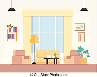 El concepto de interior de la sala moderna. Ilustración de diseño gráfico de Vector