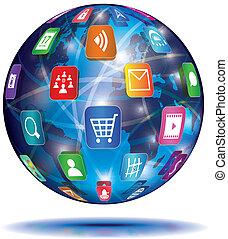 El concepto de Internet. Globe. iconos de solicitud.