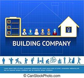 El concepto de la empresa de construcción plana