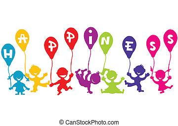 El concepto de la felicidad infantil con niños y globos