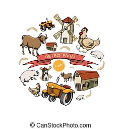 El concepto de la granja retro Sketch