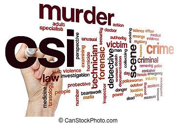 El concepto de la palabra CSI nublado