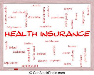 El concepto de la palabra del seguro de salud en una pizarra