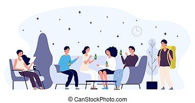 El concepto de la sala de huéspedes. Gente joven y feliz personajes planos, turista. Ilustración de vectores del salón
