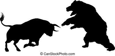 El concepto de la silueta de oso contra toro