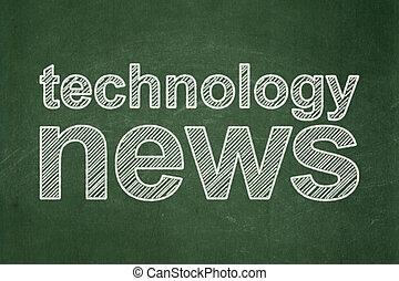 El concepto de las noticias: noticias de tecnología sobre fondo de pizarra
