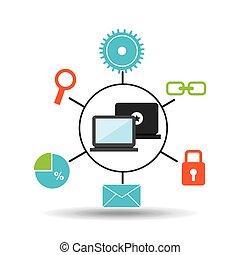 El concepto de las redes sociales de tecnología