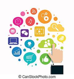 El concepto de las redes sociales Vector