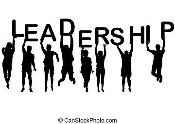 El concepto de liderazgo con las siluetas de la gente