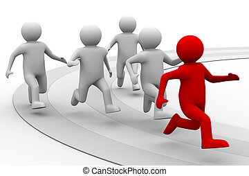 El concepto de liderazgo en el fondo blanco. Imagen 3D aislada