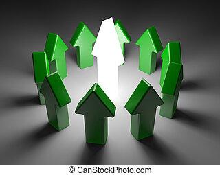 El concepto de liderazgo en el fondo blanco. Imagen 3D