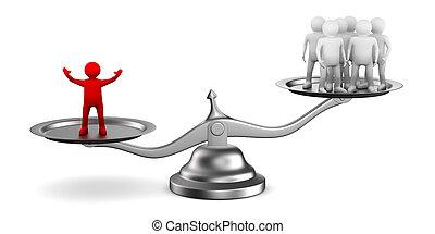 El concepto de liderazgo sobre fondo blanco. Imagen 3D aislada