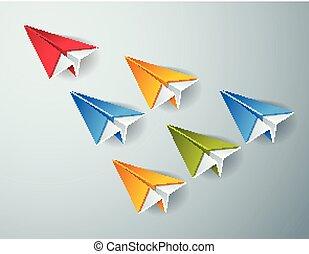 El concepto de liderazgo visualizado con juguetes de avión de origami uno de ellos está volando en el frente y liderando el grupo de equipo, vector moderno estilo ilustración 3D.