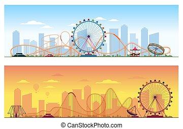 El concepto de Luna Park. Divertida entretenimiento ilustración de vectores de vectores coloreados