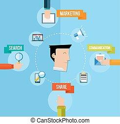 El concepto de marketing de las redes sociales ilustración plana
