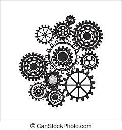 El concepto de mecanismo comercial. Trasfondo abstracto con engranajes y iconos conectados para estrategia, servicio, analíticos, investigación, seo, marketing digital, conceptos de comunicación.