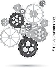 El concepto de mecanismo comercial. Trasfondo abstracto con engranajes y iconos conectados para estrategia, servicio, analíticos, investigación, seo, marketing digital, conceptos de comunicación. Ilustración de vectores de fragmentación de engranajes con texto