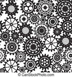 El concepto de mecanismo comercial. Trasfondo abstracto con engranajes y iconos conectados para estrategia, servicio, analíticos, investigación, seo, marketing digital, conceptos de comunicación. Ilustración de patrones sin daños