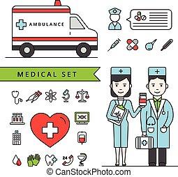 El concepto de medicina establecido con ambulancia y médicos