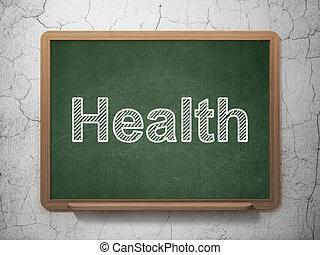 El concepto de medicina: salud en el fondo de pizarra