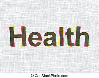 El concepto de medicina: salud en el fondo de textura de tela