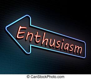 El concepto de neón de entusiasmo.