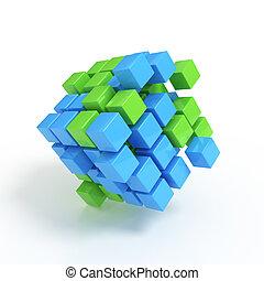 El concepto de negocios: cubos 3D en blanco
