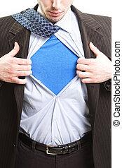 El concepto de negocios de Superman, super héroe hombre de negocios