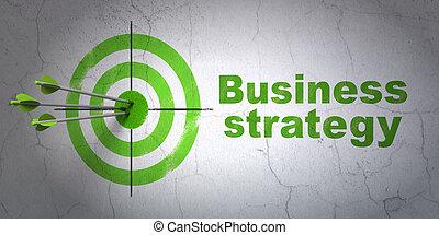 El concepto de negocios: objetivo y estrategia de negocios en el fondo de la pared