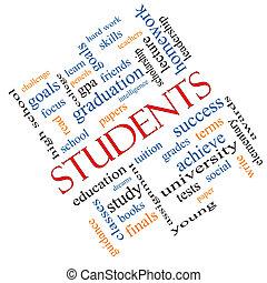 El concepto de nube de estudiantes en ángulo