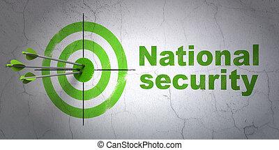 El concepto de privacidad de éxito: flechas golpeando el centro del objetivo, Seguridad Nacional Verde en el fondo de la pared, versión 3D