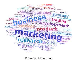 El concepto de publicidad de la palabra comercial de negocios