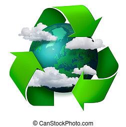 El concepto de reciclaje del clima cambia