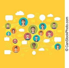 El concepto de red social en el mapa mundial con los avatares de la gente
