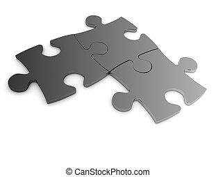 El concepto de rompecabezas 3D aislado en el fondo blanco
