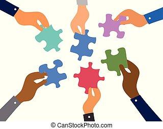 El concepto de rompecabezas de un equipo de negocios