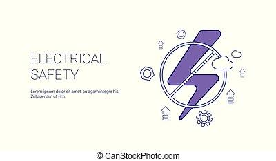 El concepto de seguridad eléctrica estandarte web con espacio de copia