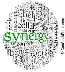 El concepto de sinergia en la palabra etiqueta de nube
